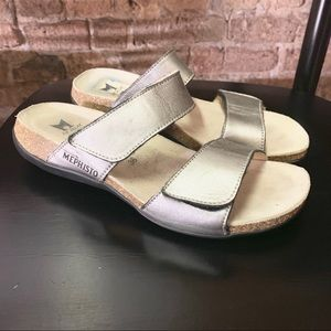 MEPHISTO silver leather comfort sandal